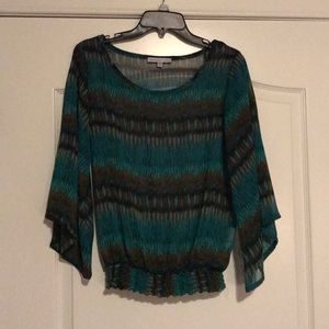 Blue and brown striped blouse with sleeves, small